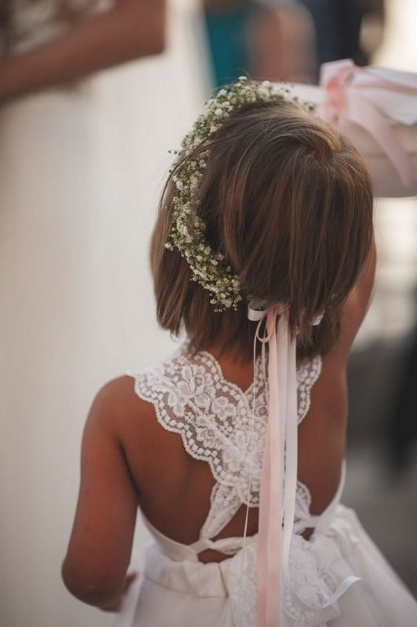 lace flower girl dress back details