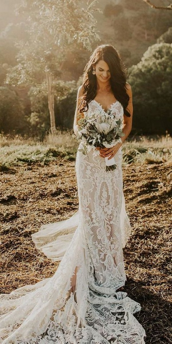 lace wedding dress for country wedding