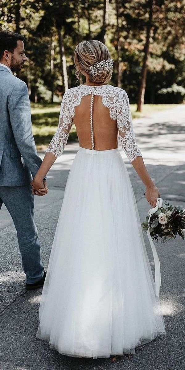 lace wedding dress with illusion back and long sleeves