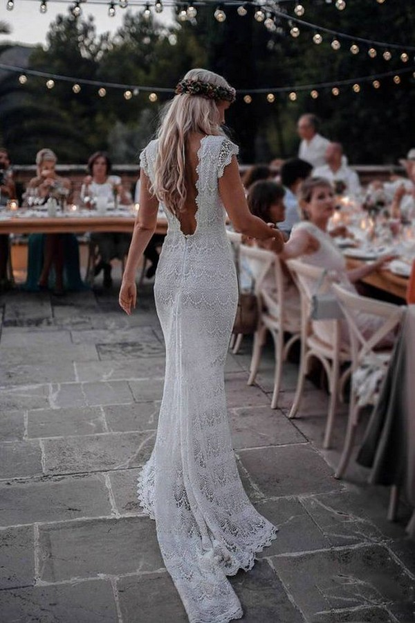 lace wedding dress with v back