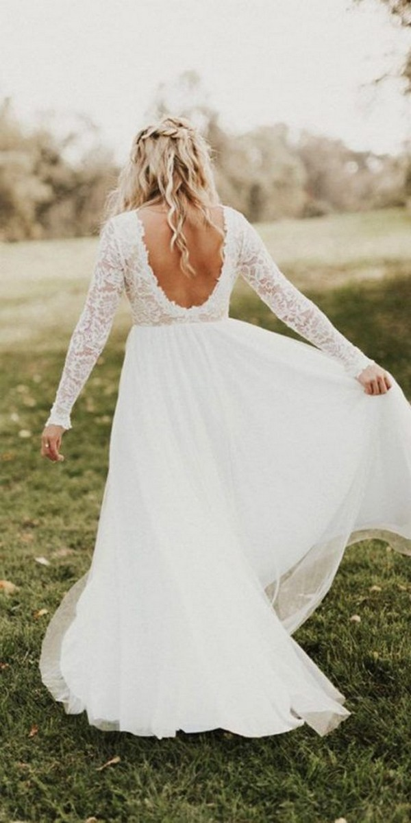 long lace sleeves wedding dress with open back