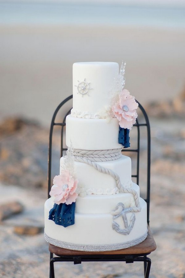 navy and blush nautical beach wedding cake