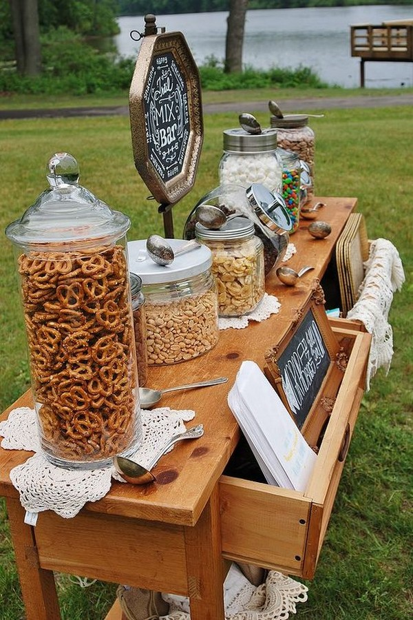 outdoor fall wedding snack bar food station