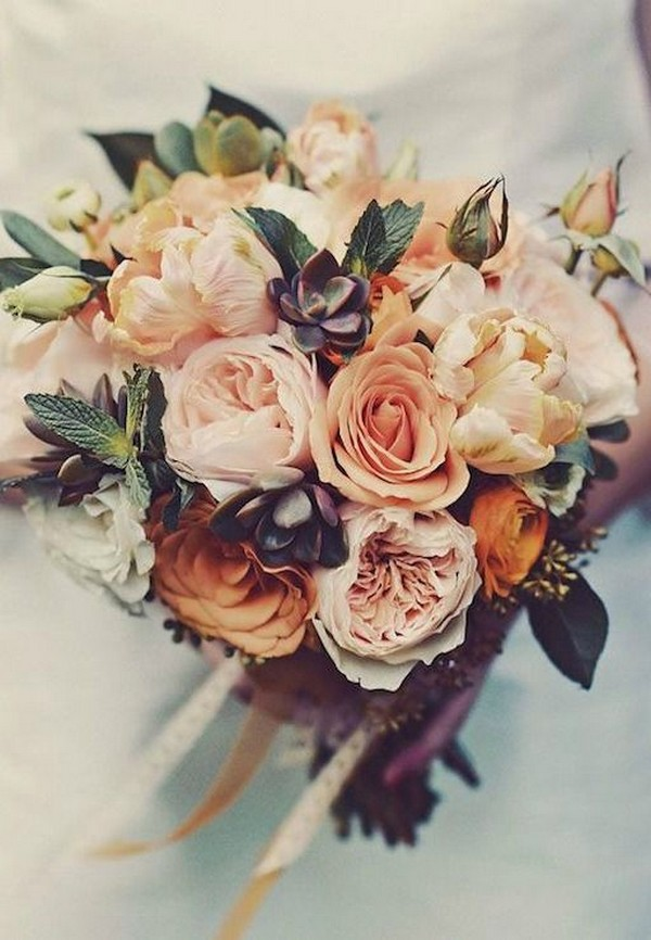 pinks and oranges fall wedding flowers