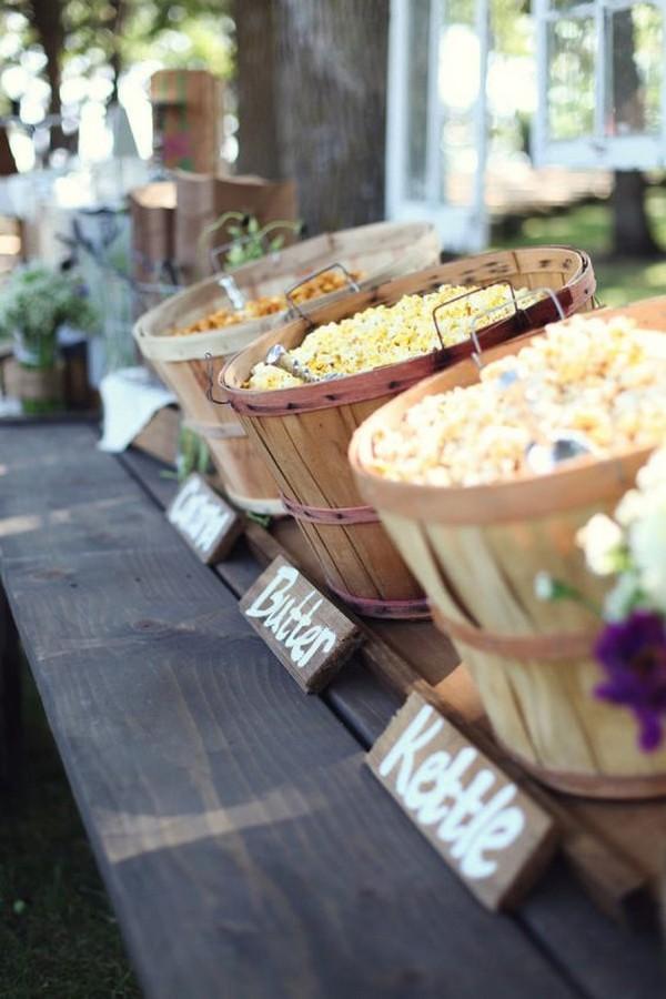 popcorn bar fall wedding food ideas