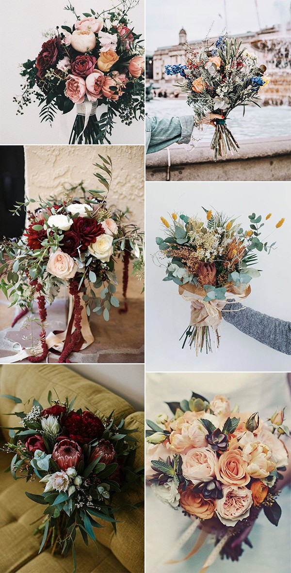 pretty fall wedding flowers and bouquets