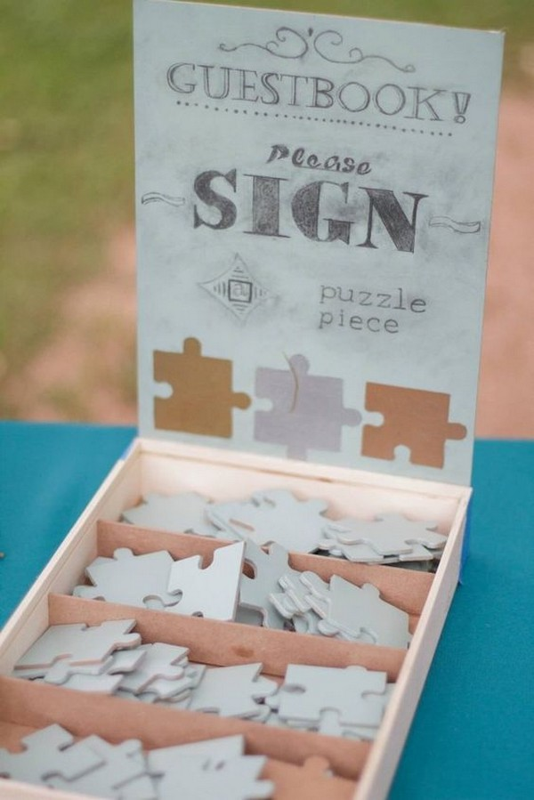 puzzle piece wedding guest book ideas