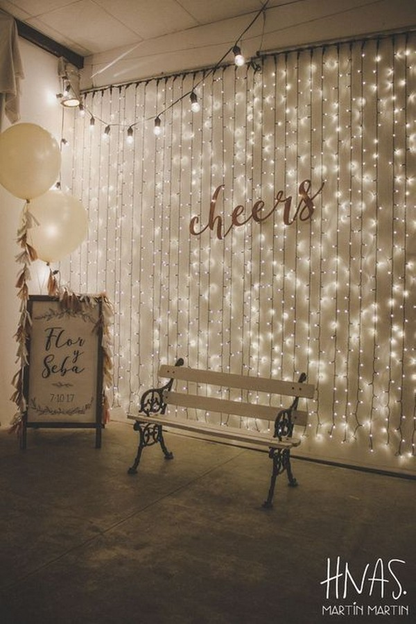 romantic wedding photo booth with string lights