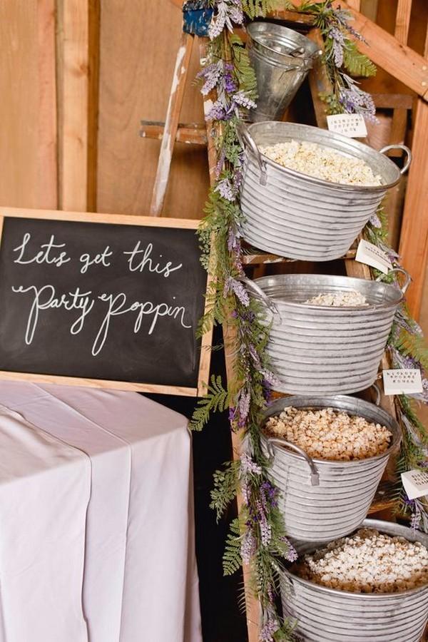 rustic fall wedding food ideas popcorn bar