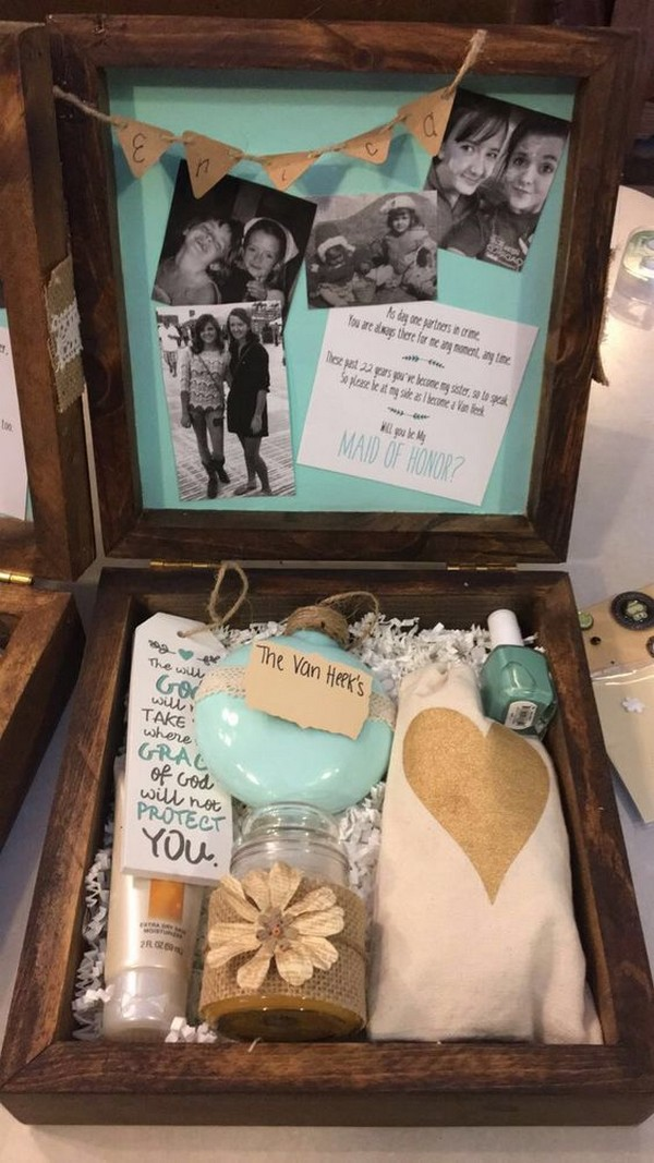 rustic maid of honor proposal box ideas