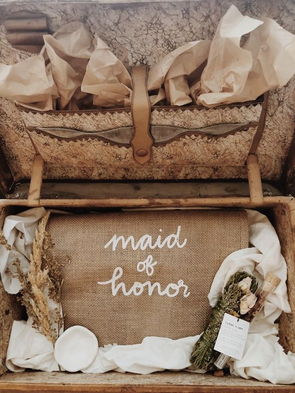 rustic maid of honor proposal gift box ideas