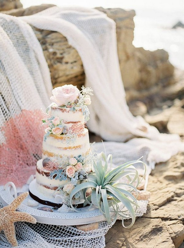 semi naked summer beach wedding cake