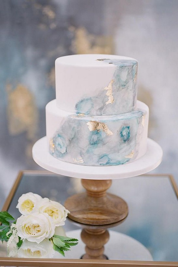 shades of blue and gold beach wedding cake