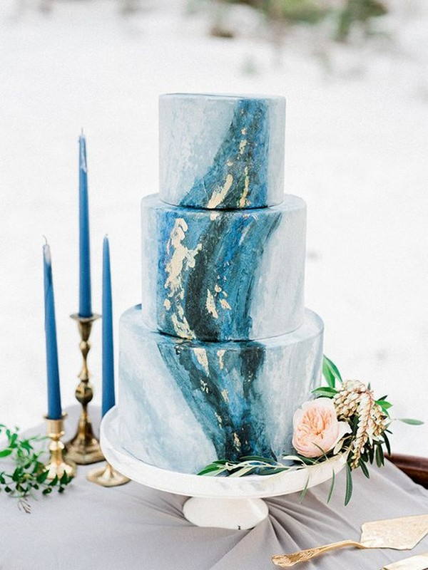 shades of blue colors wedding cake ideas