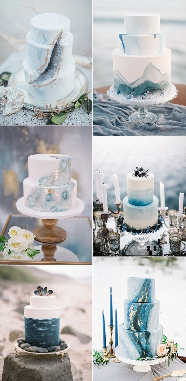 shades of blue summer beach wedding cakes