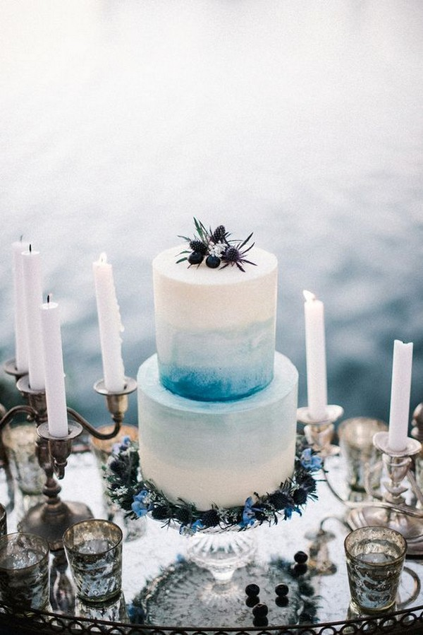 shades of blue summer wedding cake