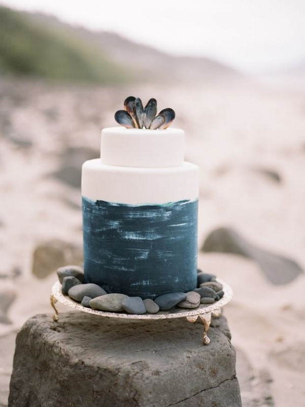 simple blue beach wedding cake with shells