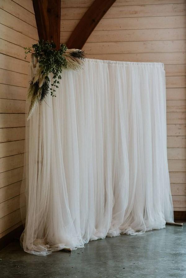 simple boho chic wedding photo booth backdrop