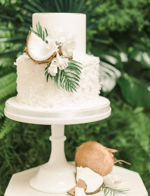 simple summer wedding cake with coconut