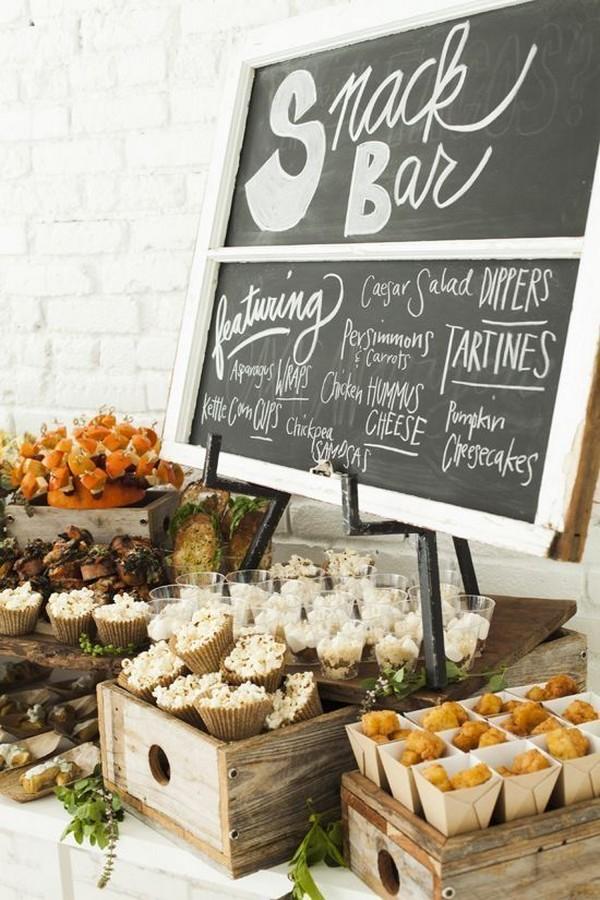 snack bar wedding reception food ideas