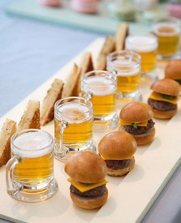 toast and hamburger silders with beer steins fall wedding food