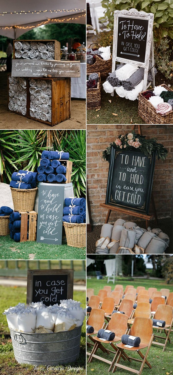trending blankets as fall wedding favor ideas