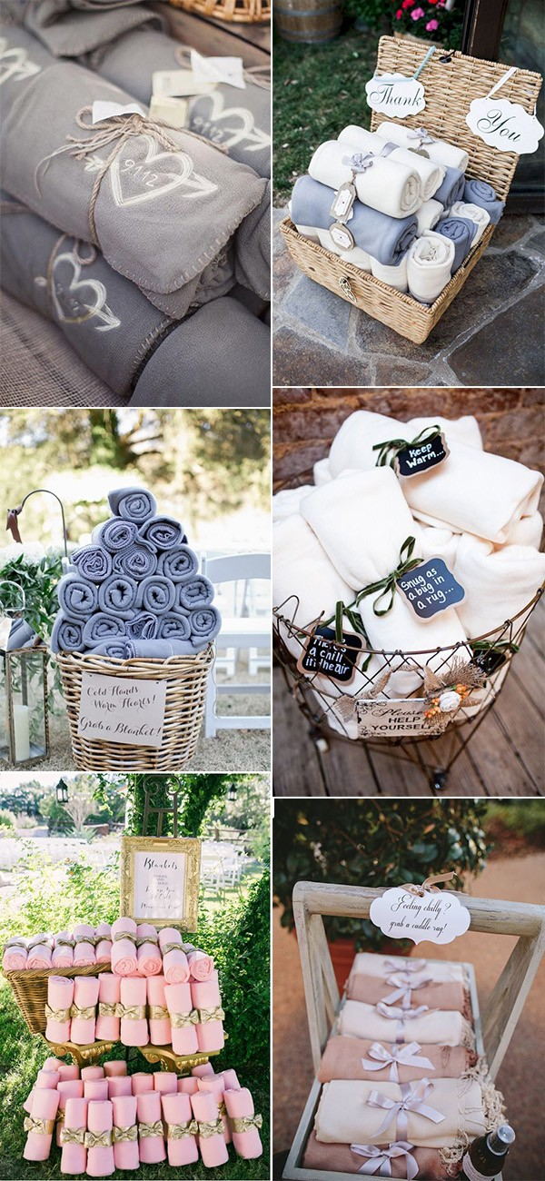 trending fall wedding favor ideas blankets to keep guests warm