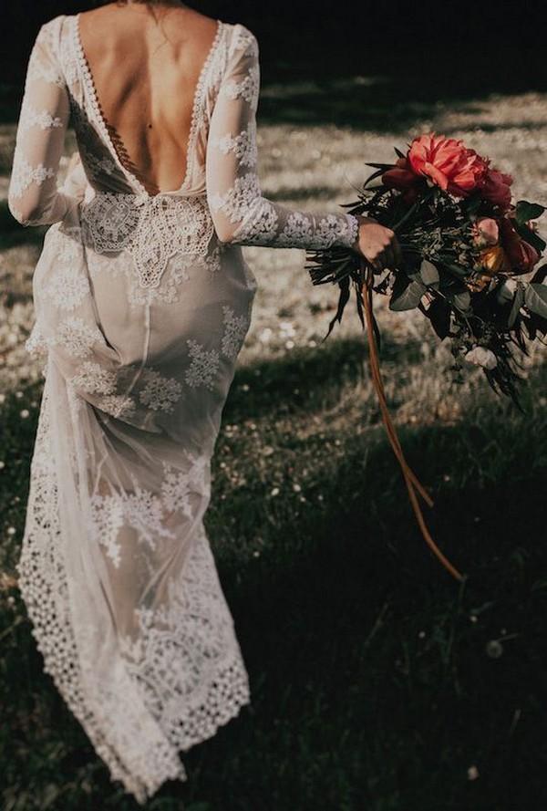 vintage lace wedding dress with v back