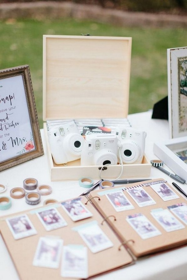 white Polaroid wedding guest book ideas