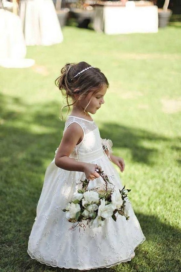 white ball gown flower girl dress