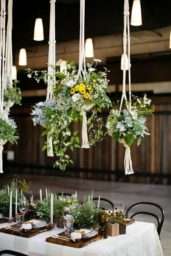Macramé hanging plant wedding centerpieces