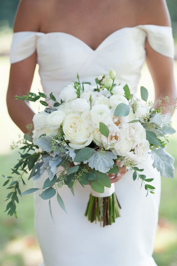 White Ranunculus and Eucalyptus Weddign Bouquet