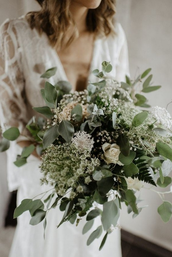 all greenery wedding bouquet