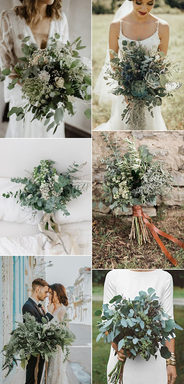 all greenery wedding bouquets for 2019 trends