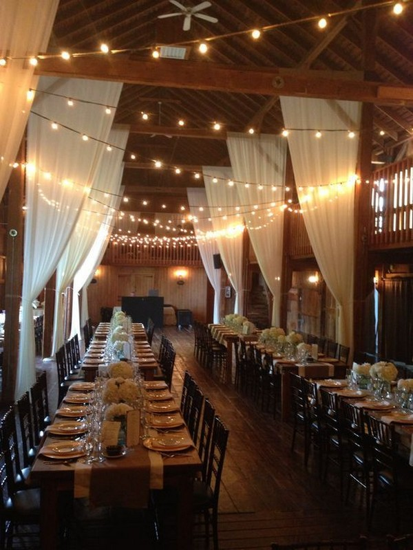barn country wedding reception ideas with white draping