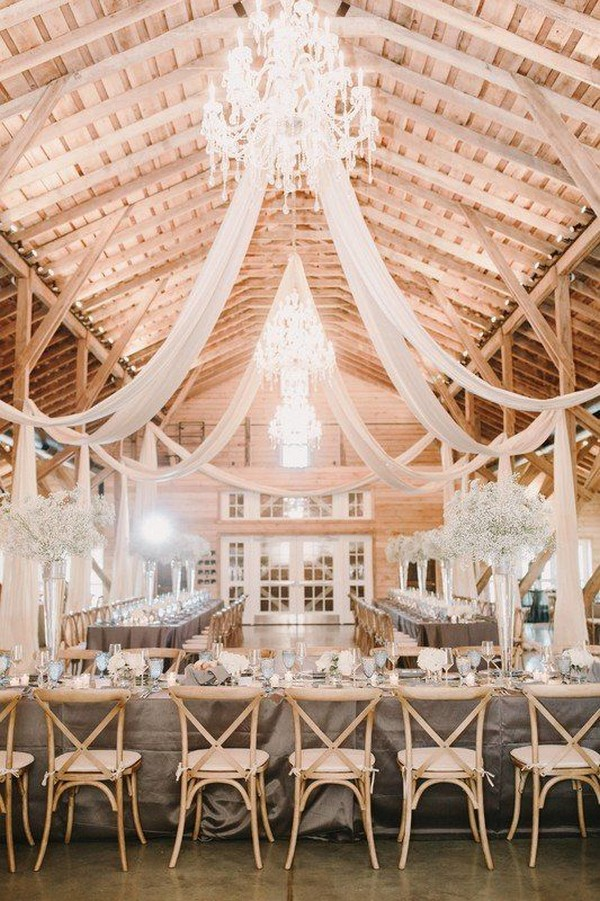 barn wedding reception decor ideas with white drapery