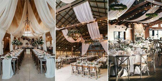 barn wedding reception ideas with drapery