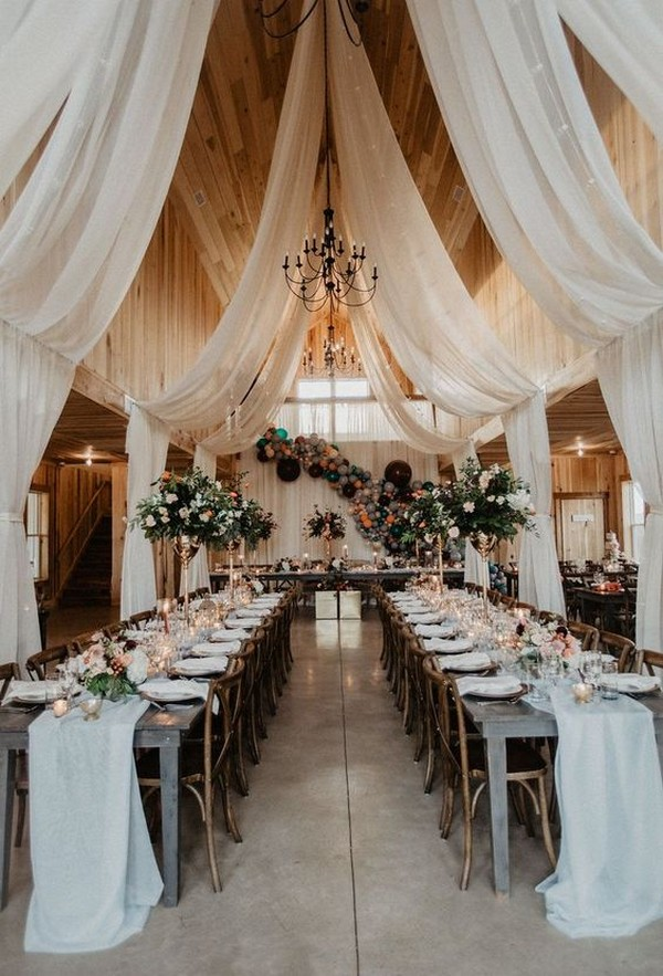 barn wedding reception ideas with white draping