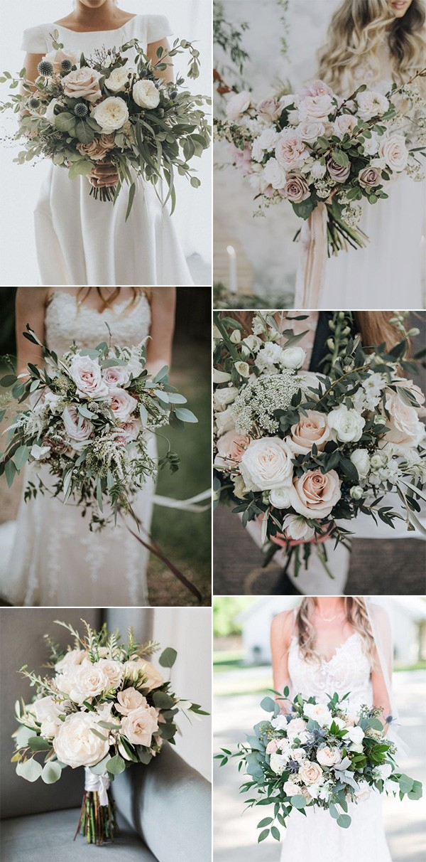 blush and greenery wedding bouquets