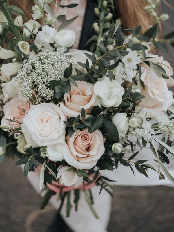 blush green and white boho wedding bouquet