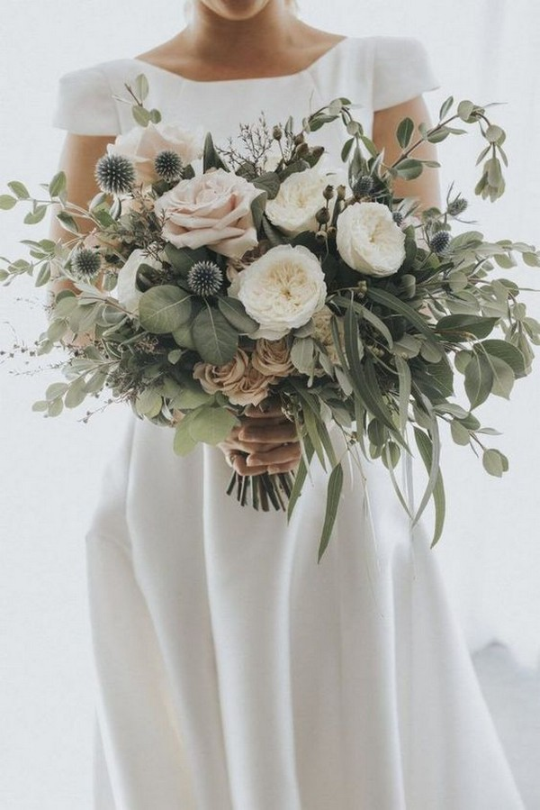 blush greenery and white wedding bouquet