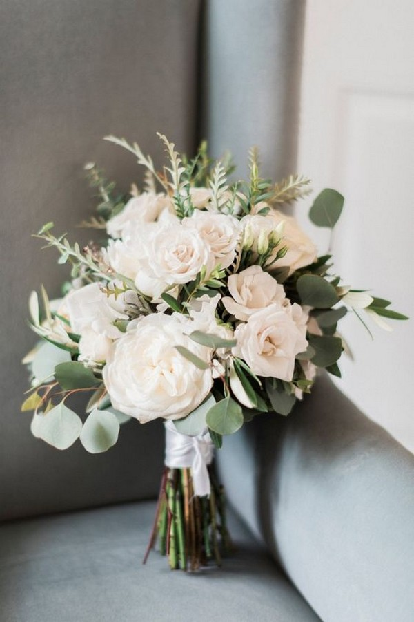 blushing wedding bouquet with greenery