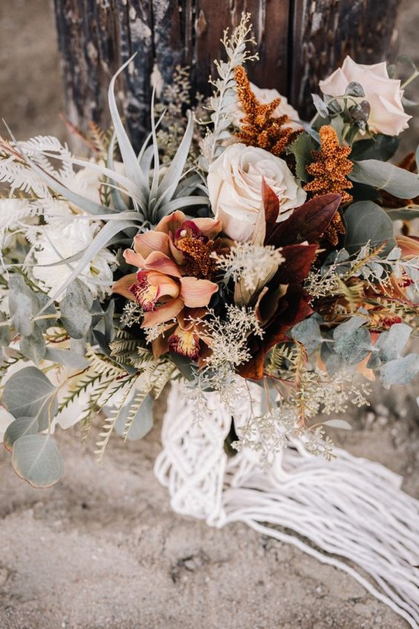 boho chic fall wedding bouquet ideas