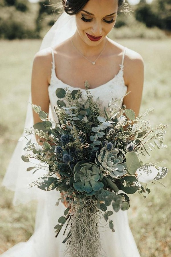 boho chic greenery wedding bouquet