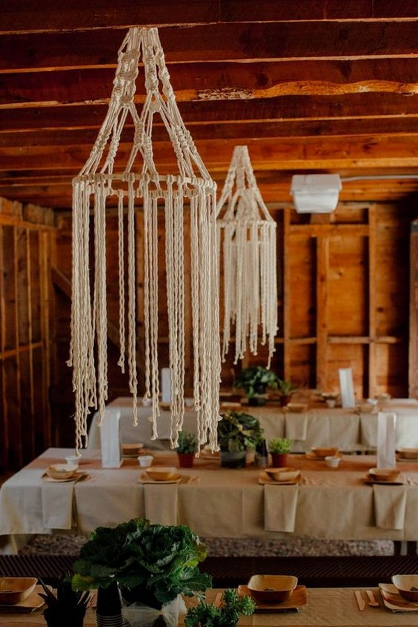 boho chic macrame chandeliers wedding decorations