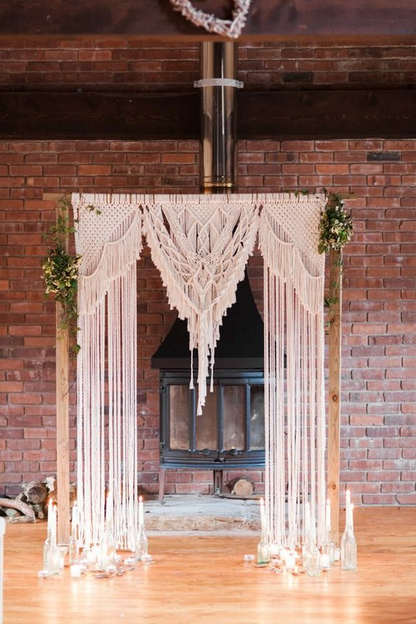 boho chic macrame wedding arch ideas with candles