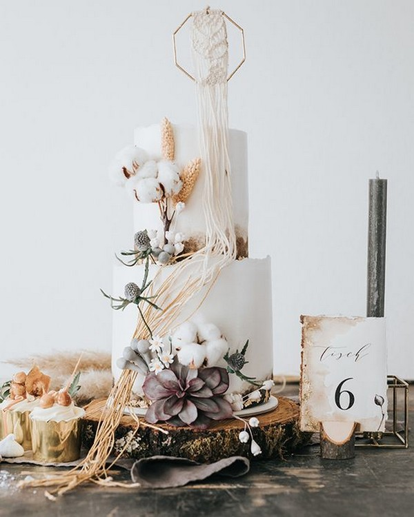 boho chic macrame wedding cake