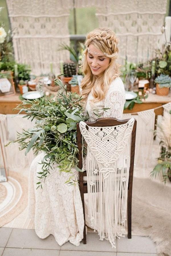 boho chic macrame wedding chair back