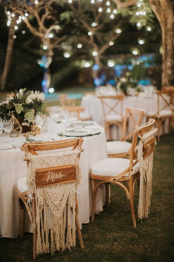 boho chic macrame wedding chair decoration ideas