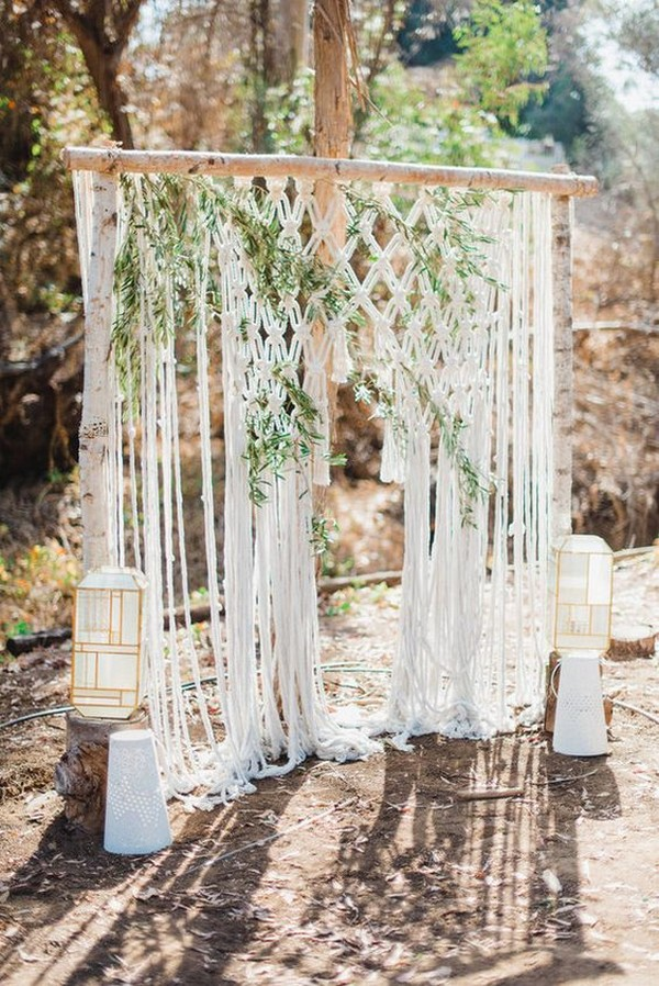 boho macrame wedding backdrop and arch ideas